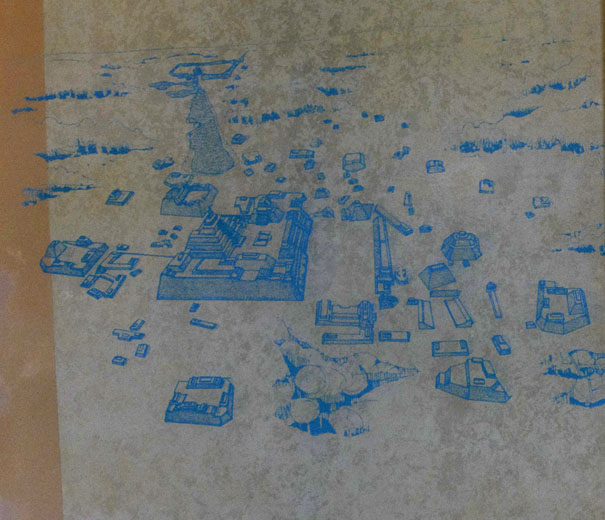 Map of the Mayan Temple Edzna on the Yucatan Peninsula in Mexico.