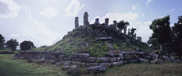 Atlantes Temple at Ake panorama - ake mayan ruins,ake mayan temple,mayan temple pictures,mayan ruins photos