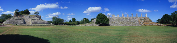 Courtyard Panorama at Akeake mayan ruins,ake mayan temple,mayan temple pictures,mayan ruins photos