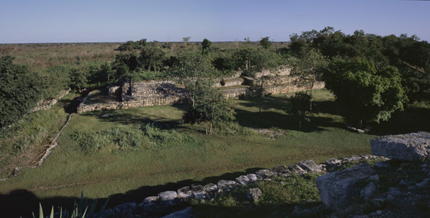 Long Temple at Ake panorama - ake mayan ruins,ake mayan temple,mayan temple pictures,mayan ruins photos