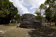 Circular Altar in Becan's East Plaza - becan mayan ruins,becan mayan temple,mayan temple pictures,mayan ruins photos