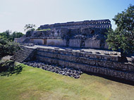 Back of the Palace of the Masks at Kabah - kabah mayan ruins,kabah mayan temple,mayan temple pictures,mayan ruins photos