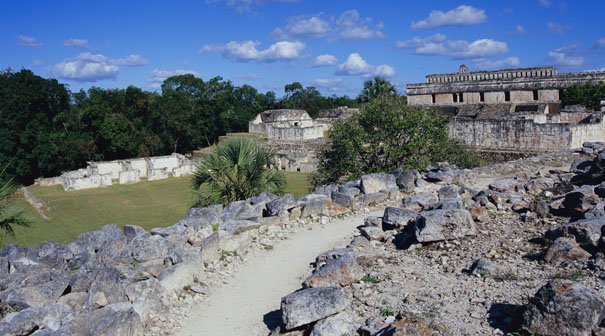 Courtyard and Palaces at Kabah - kabah mayan ruins,kabah mayan temple,mayan temple pictures,mayan ruins photos