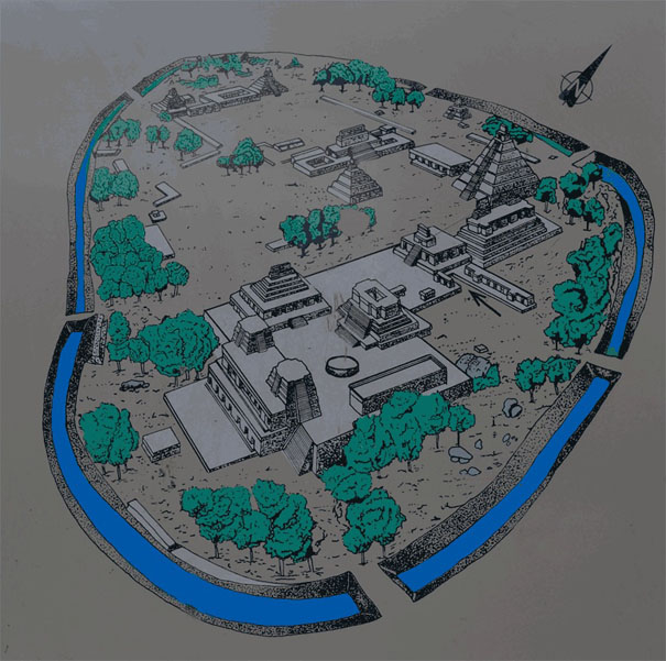 Map of the Mayan Temple Becan on the Yucatan Peninsula in Mexico.