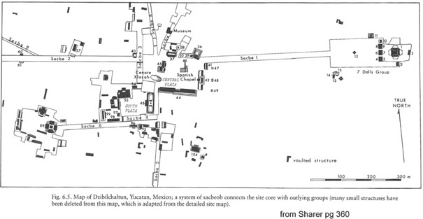 Map of the Mayan Temple Dzibilchaltun on the Yucatan Peninsula in Mexico.