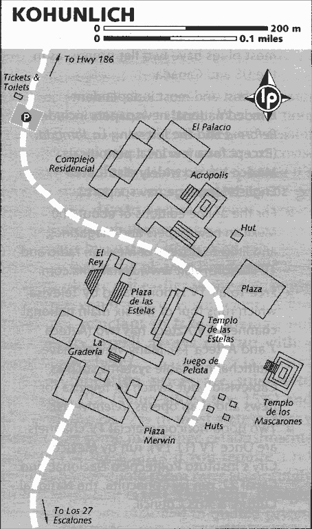 Map of the Mayan Temple Kohunlich on the Yucatan Peninsula in Mexico.