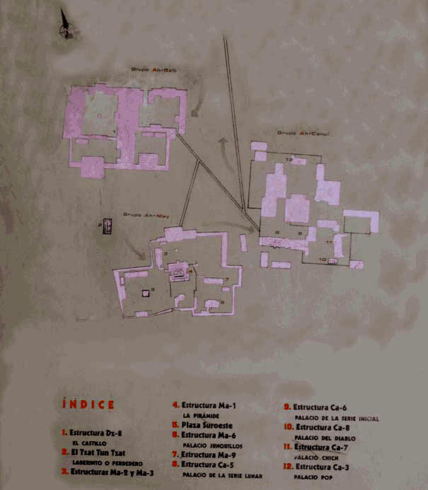 Map of the Mayan Temple Oxkintok on the Yucatan Peninsula in Mexico.