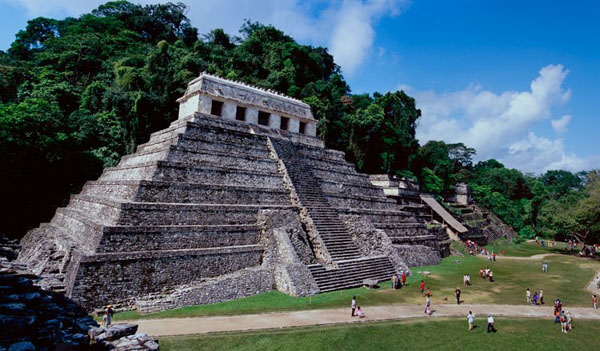 Palenque - Temple of the Inscriptions - Mayan Temple Site Ruins